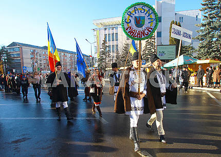 Ukrainians on the parade of malanka
