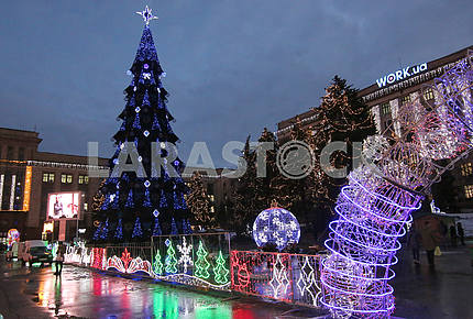 New Year tree in the Dnieper