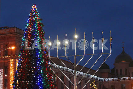 Chanukah Menorah in the Dnieper River