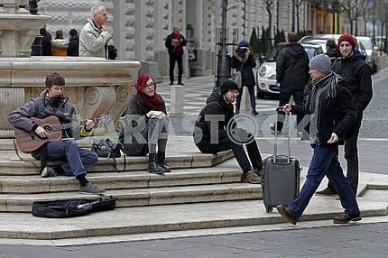 St. Istvan square, street musician