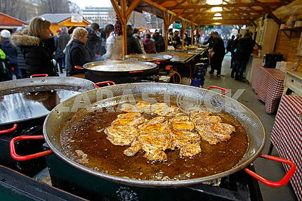 Food Festival in Budapest, goulash on a frying pan
