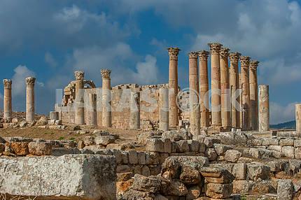 Columns of the ancient city of Jarash