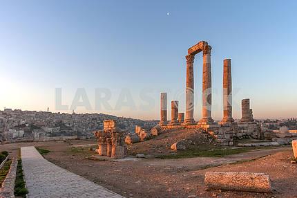 Roman Square in Amman at dawn