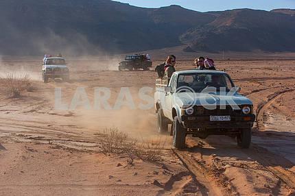 Jeep in the Wadi Rum desert, Jordan