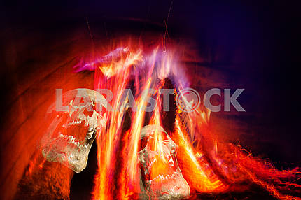 Fire from a fireplace