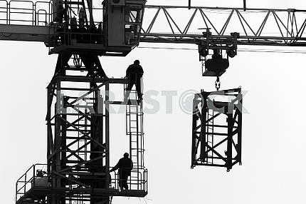 Silhouettes of cranes with a load on the construction of buildin