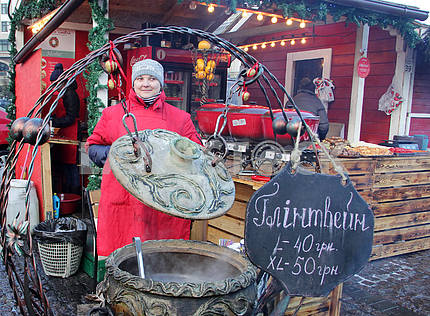 The seller of mulled wine on the Sophia Square
