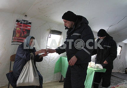 Rescue Tent in Kiev, where the needy can get warm and eat