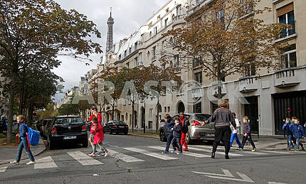 Pedestrian crossing in Parisian street