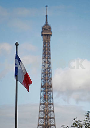 Eiffel Tower and the flag of France
