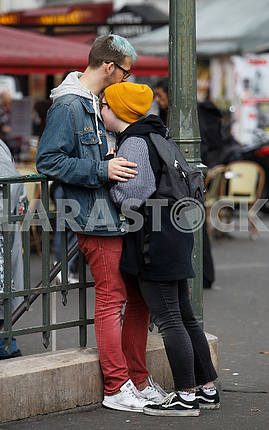 The guy with the girl on the Parisian street