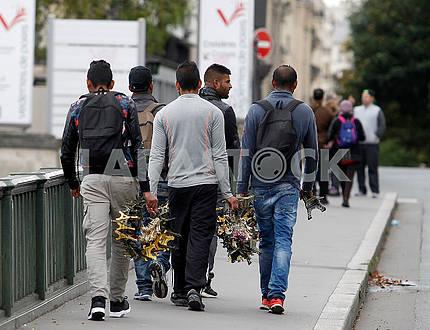 Sellers of souvenirs in Paris