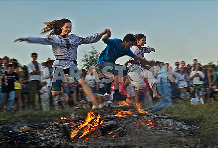 Off traditional jump over a bonfire on Midsummer