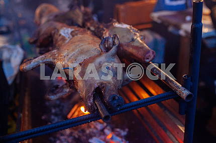 Roasted pig on the spit