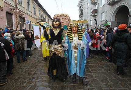 Costumed procession in Chernivtsi