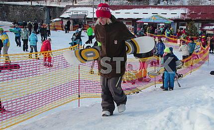 Сноубордисты в Протасовом яру