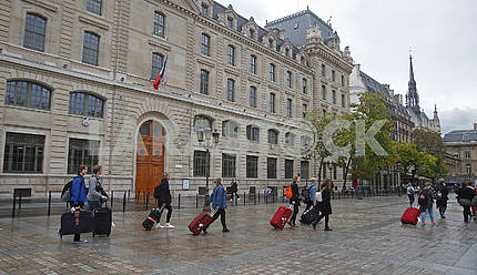 Passers-by on the square in Paris