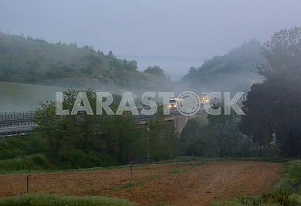 Утрений туман в Раполано Терме