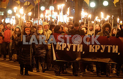 Torchlight procession in honor of the Krut heroes