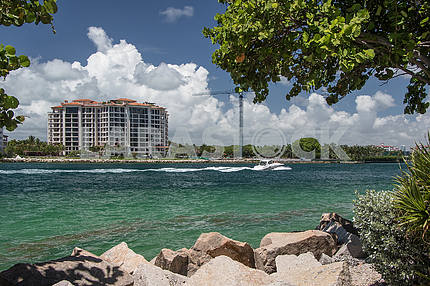 View of the island of Fisher Island in Miami Beach