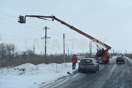 Repair of power lines in Avdeevka