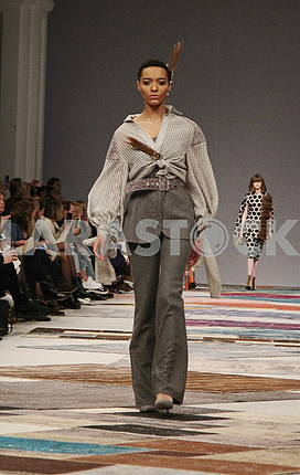 Model in a trouser suit