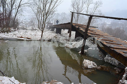 The demolished bridge in Transcarpathia