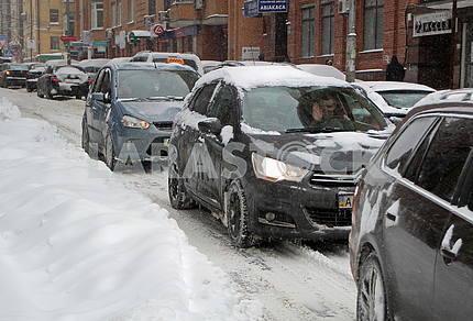 Road in Kiev in winter