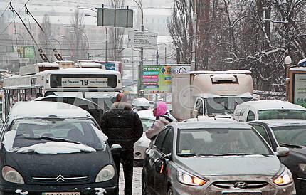 Car jam in Kiev