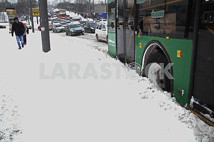Transport in Kiev in winter