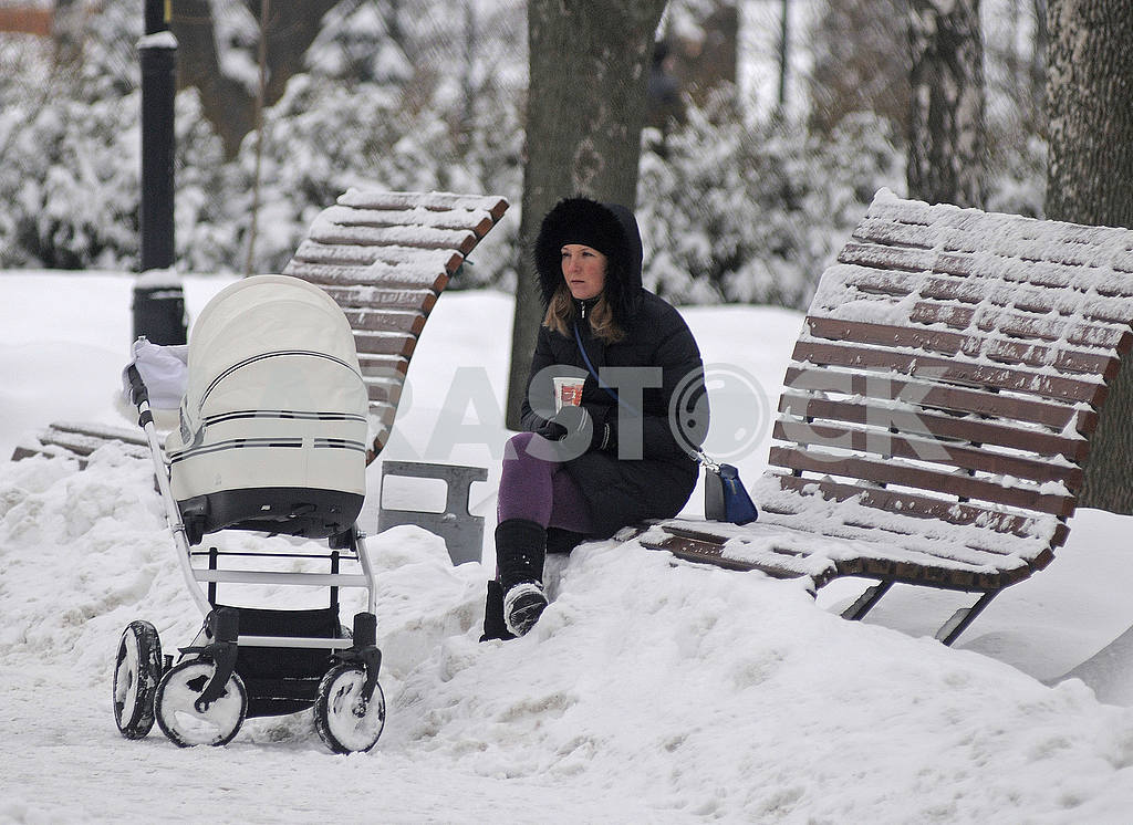 Woman with a stroller in winter — Image 51288