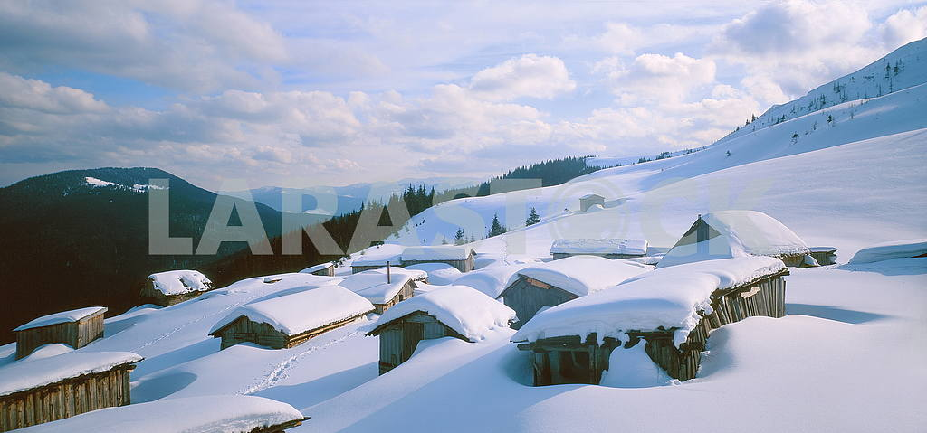 Houses under the snow