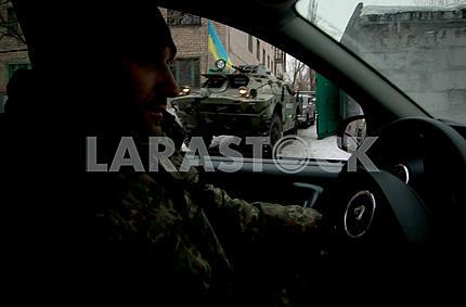 Police patrol in Avdeevka.