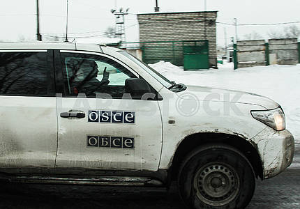 The OSCE car in Avdeevka.