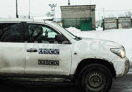 The OSCE car in Avdeevka.