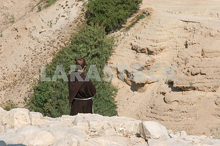 Monk in Judea desert, Israel