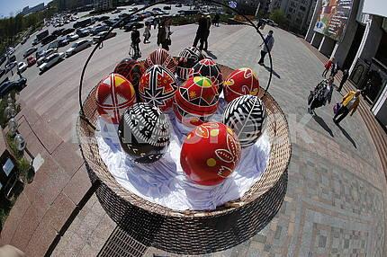 Basket with Easter eggs in Kiev