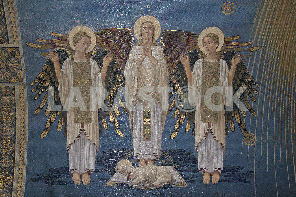 Angels, mosaic, Basilica of the Transfiguration, Mount Tabor, Israel — Image 51959