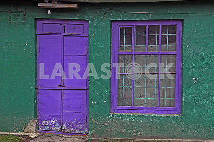 Violet door and window and matte white bulb.