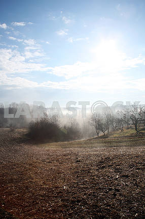 Misty countryside morning in February,4