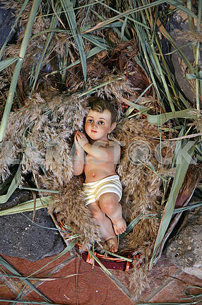 A baby Jesus figure on Christmas