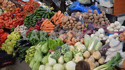 Vegetables and fruits on a market table