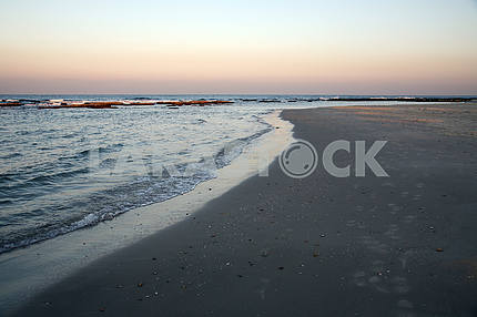 Beach at sundown, Caesarea, Israel