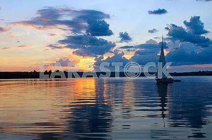 Yacht, sail sunset, beautiful sky