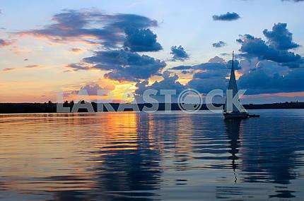 Yacht, sail sunset, beautiful sky