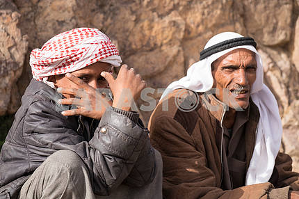 Bedouin boy with father