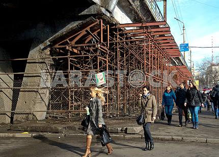 Part of Shuliavsky Bridge collapsed in Kiev