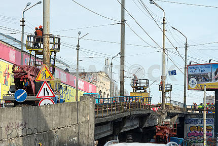 Shuliavsky Bridge after the destruction