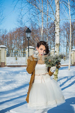 Beautiful bride on a sunny winter day behind the birch. snowy weather. blye sky and trees on the background. Girl in a short wedding dress, rustic style. posing - showing her lips