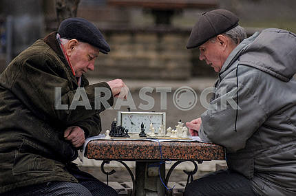 Elderly people play chess